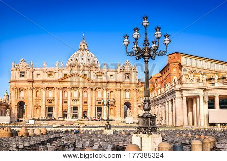 Rome Italy. Saint Peter Square and Saint Peter Basilica in the Morning Vatican City in Roma Italia.