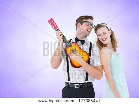 Digital composite of Happy couple playing guitar against a lavender background