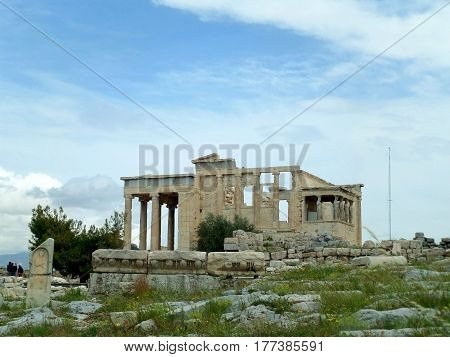 The Erechtheion or Erechtheum, an Ancient Greek Temple on the Acropolis of Athens, Greece