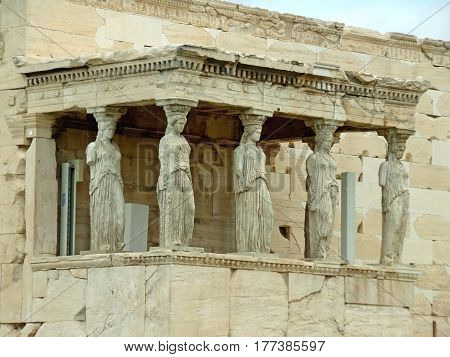 Caryatid Porch of the Erechtheum Ancient Greek Temple on the Acropolis, Athens, Greece