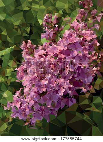 Lilac branch in vector format 3D immitation