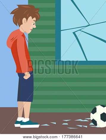 teenager boy with ball and broken glass, vector cartoon illustration of problem child