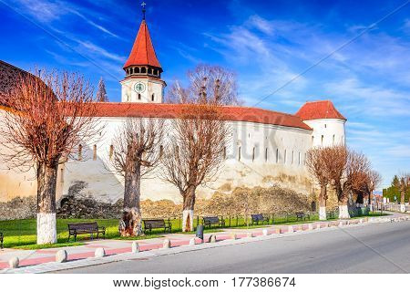 Prejmer Romania. Fortified church of Tartlau Prejmer. Churches built by Teutonic Knights settlement of the Transylvanian Saxons.