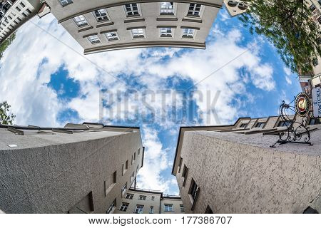 MUNICH GERMANY - MAY 15 2016: eyes in the sky among the buildings of historical part of the city
