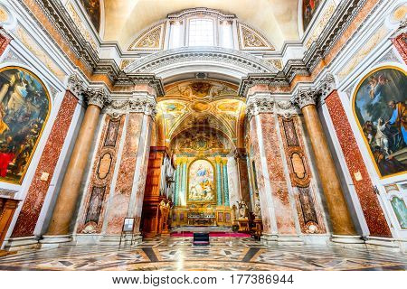 ROME ITALY - 5 APRIL 2016: Basilica of Santa Maria Degli Angeli E Dei Martiri built inside Baths of Diocletian.