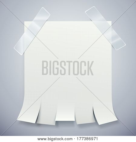 Blank advertisement with tear off tabs and adhesive tape. Ad concept. Vector illustration