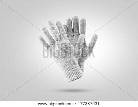 Blank knitted winter gloves mockup. Clear ski or snowboard mittens mock up, isolated. Warm hand clothes design template. Plain arm accessory presentation for branding.