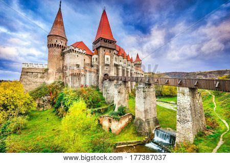 Hunyad Castle - Beautiful panorama of the Corvin Castle with wooden bridge Hunedoara Transylvania Romania Europe.