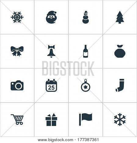 Vector Illustration Set Of Simple Celebration Icons. Elements Photography, Bag, Christmas Decoration And Other Synonyms Bow, Giftbox And Snowflake.