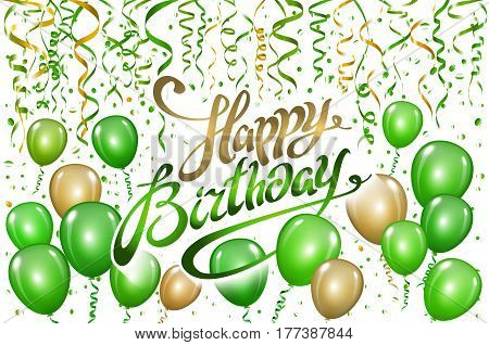 Happy Birthday Typography Vector Design For Greeting Cards And Poster With Green Gold Balloon, Confe