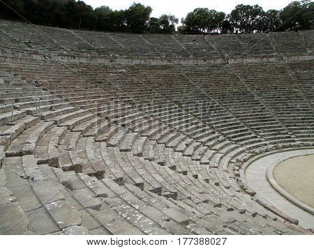 The Well Preserved Ancient Theater of Epidaurus, Peloponnese Peninsula of Greece
