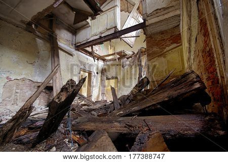 The desolate room in old destroyed house