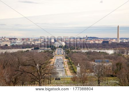 A view of Washington DC from Arlington National Cemetery