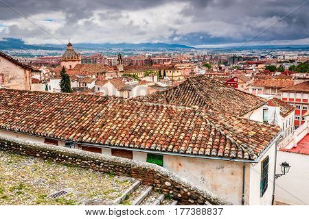 Granada Spain. Medieval Moorish city of Granada Andalusia landmark of Spanish country Iberian Peninsula.