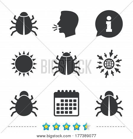 Bugs vaccination icons. Virus software error sign symbols. Information, go to web and calendar icons. Sun and loud speak symbol. Vector
