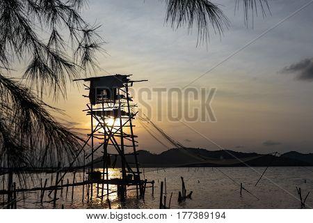 Fishing net and sunset songkhla lake thailand