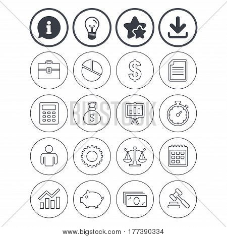 Information, light bulb and download signs. Business icons. Businessman, briefcase and documents symbols. Presentation pie chart, money bag and justice scales thin outline signs. Dollar USD currency