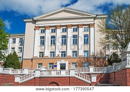 The historical administrative building of the Soviet era in early spring