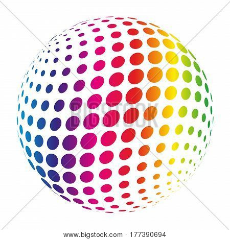 Rainbow spectrum sphere. Abstract vector illustration on white background.