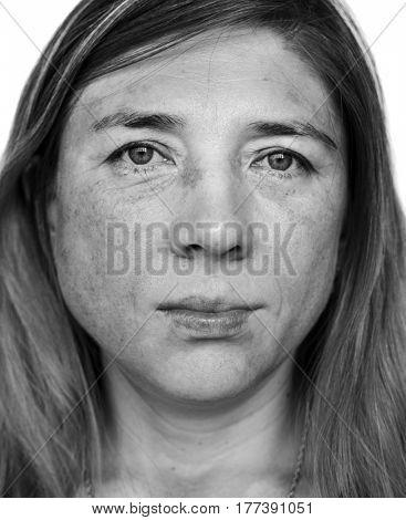 Mature woman casual studio portrait