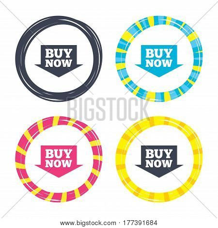 Buy now sign icon. Online buying arrow button. Colored buttons with icons. Poker chip concept. Vector