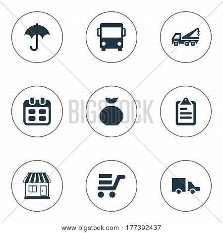 Vector Illustration Set Of Simple Distribution Icons. Elements Van, Mall, Autobus And Other Synonyms Autobus, Roster And Mall.