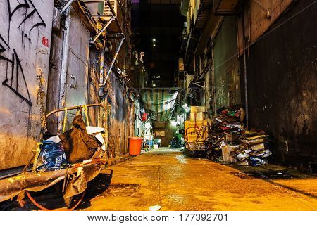 Typical Decayed Backstreet In Kowloon, Hong Kong