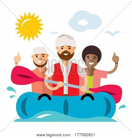 People travel by sea in an inflatable dinghy. Isolated on a white background