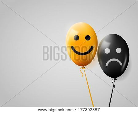 Happy and sad faces. Yellow and black balloons. Positive mood concept. Lifestyle. Vector illustration