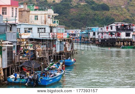 Typical Stilt Houses In Tai O, Lantau Island, Hong Kong