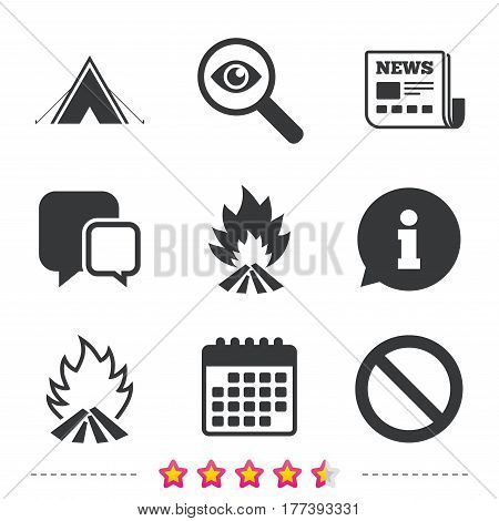 Tourist camping tent icon. Fire flame and stop prohibition sign symbols. Newspaper, information and calendar icons. Investigate magnifier, chat symbol. Vector
