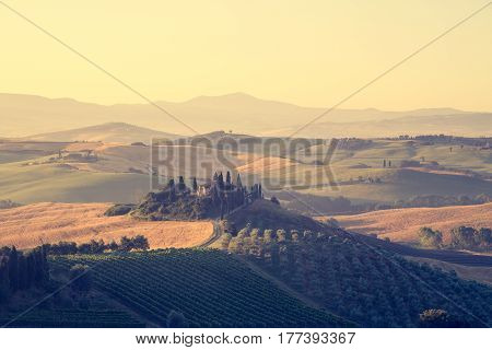 Classic view of scenic Tuscany landscape with famous farmhouse amidst idyllic rolling hills and valleys in beautiful golden morning light at sunrise in summer Val d'Orcia Italy