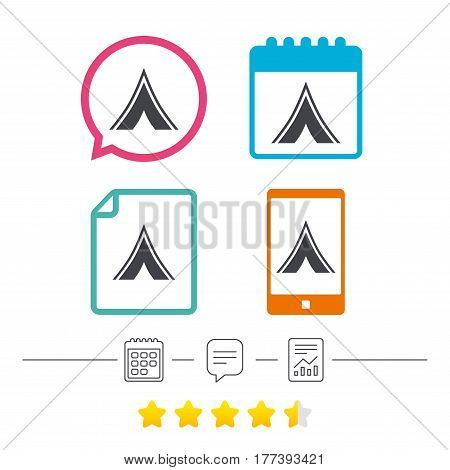 Tourist tent sign icon. Camping symbol. Calendar, chat speech bubble and report linear icons. Star vote ranking. Vector