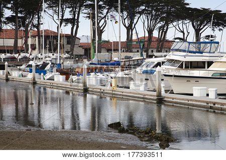 San Francisco, California, USA - August 20 2016: Boats parked in the Marina at San Francisco, USA