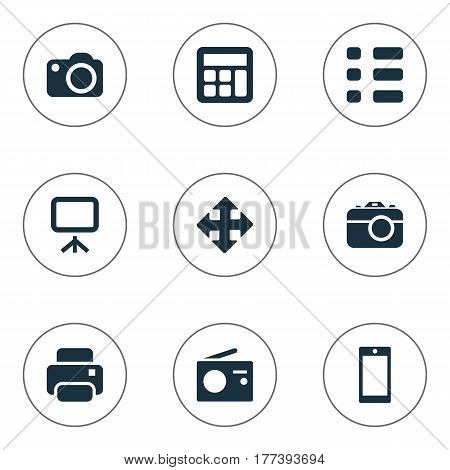 Vector Illustration Set Of Simple Digital Icons. Elements Smartphone, Adding Device, Move And Other Synonyms Printer, Presentation And Reflex.