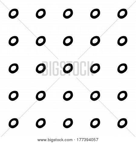Abstract spot pattern with hand drawn spots. Cute vector black and white spot pattern. Seamless monochrome doodle spot pattern for fabric, wallpapers, wrapping paper, cards and web backgrounds.