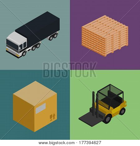 Delivery logistics and transportation isometric vector illustration. Commercial freight car, forklift truck, stack of packing boxes icons. Warehouse logistics, delivery business, freight shipping set