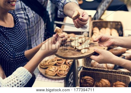 People Hands Eating Testing Sample Homemade Bread