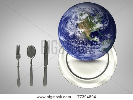 Digital Composite image of a globe on a plate next to kitchen utensils against a grey background