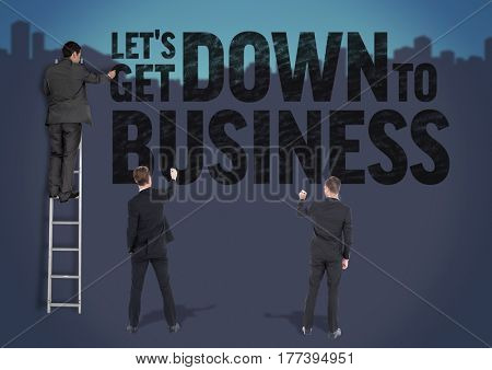 Digital composite of Businessman on a Ladder with two businessmen writhing against a blue background