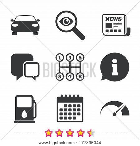 Transport icons. Car tachometer and manual transmission symbols. Petrol or Gas station sign. Newspaper, information and calendar icons. Investigate magnifier, chat symbol. Vector