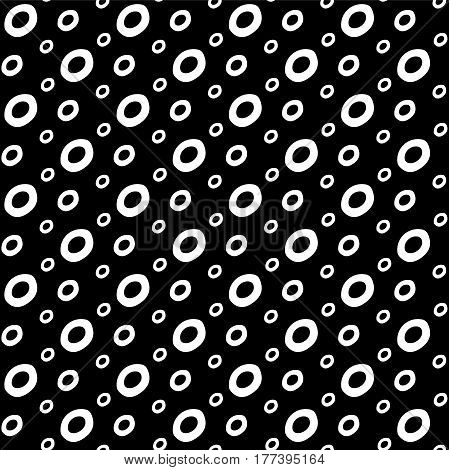 Abstract doodle pattern with hand drawn ink bubbles. Cute vector black and white doodle pattern. Seamless monochrome doodle pattern for fabric, wallpapers, wrapping paper, cards and web backgrounds.