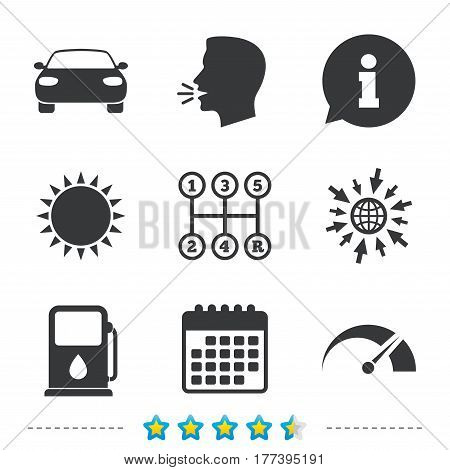 Transport icons. Car tachometer and manual transmission symbols. Petrol or Gas station sign. Information, go to web and calendar icons. Sun and loud speak symbol. Vector