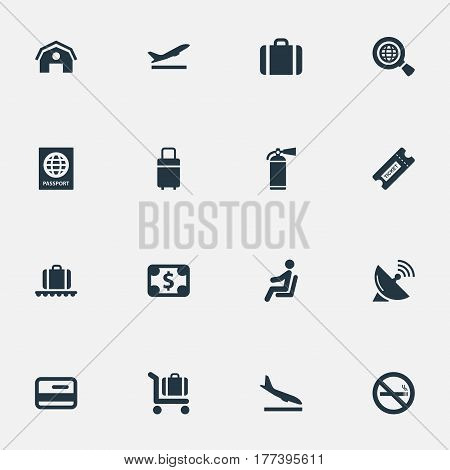 Vector Illustration Set Of Simple Transportation Icons. Elements Luggage Carousel, Travel Bag, Seat And Other Synonyms Coupon, Garage And Passport.