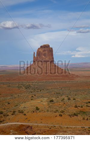A view towards the Mittens in Monument Valley, Utah