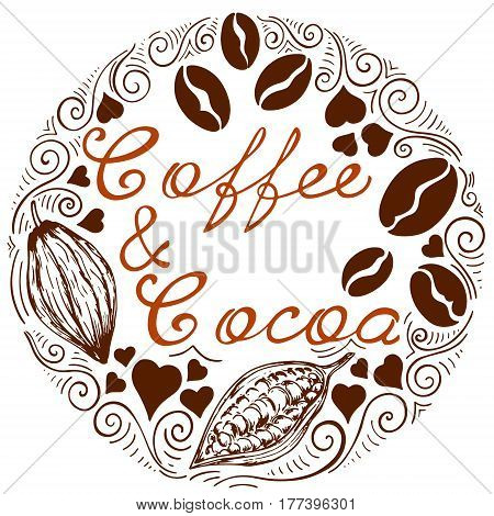 Logo with letting coffee and cocoa cocoa beans and coffee beans in retro style
