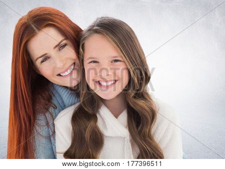 Digital composite of Mother and daugther against a neutral background