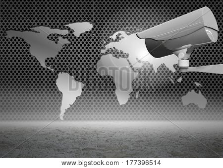 Digital composite of Security camera on grey map with sand