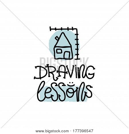 Education and Evaluation Concept. Hand writing logo lessons drawing on white paper. View from above. Vector illustration