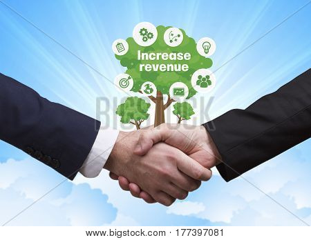 Technology, The Internet, Business And Network Concept. Businessmen Shake Hands: Increase Revenue
